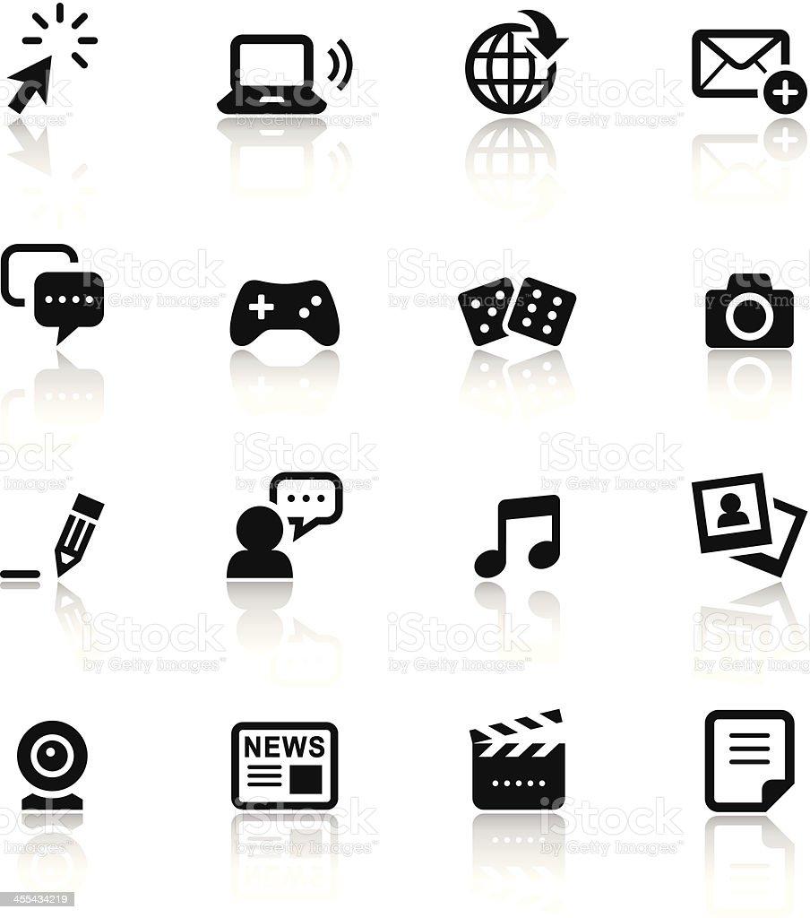 Black & White Icons Set | Social Media vector art illustration