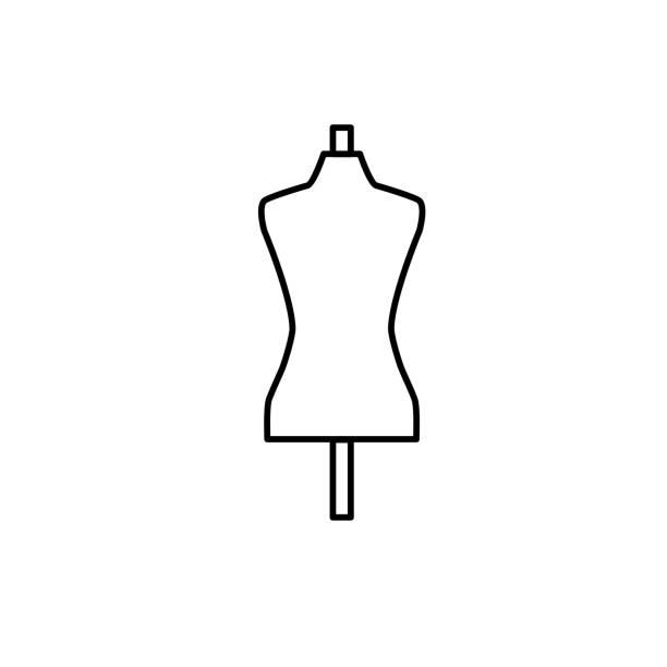 weibliche schaufensterpuppe schwarz & weißen illustration. schneider schneiderin dummy. vektor liniensymbol der schneiderpuppe. isoliertes objekt - couture stock-grafiken, -clipart, -cartoons und -symbole