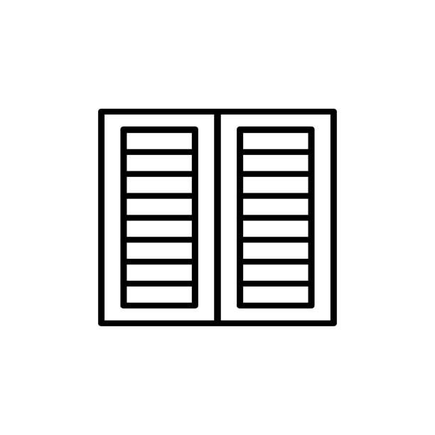 black & white illustration of old louver window shutter. vector line icon of wooden vintage outdoor jalousie. isolated object - жалюзийный тип stock illustrations
