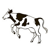 graphic drawing of a jumping cow on a white background