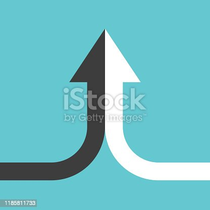 Bent arrow of two black and white ones merging on turquoise blue background. Partnership, merger, alliance and joining concept. Flat design. Vector illustration, no transparency, no gradients