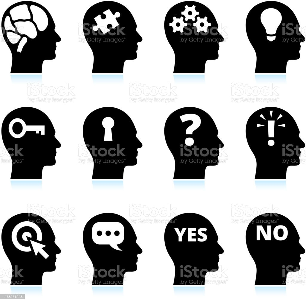 Black & White Mind and Ideas royalty-free vector icon set