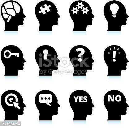 PrintBlack & White Mind and Ideas Icons Set