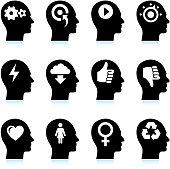 Black & White Mind and Ideas Icons Set