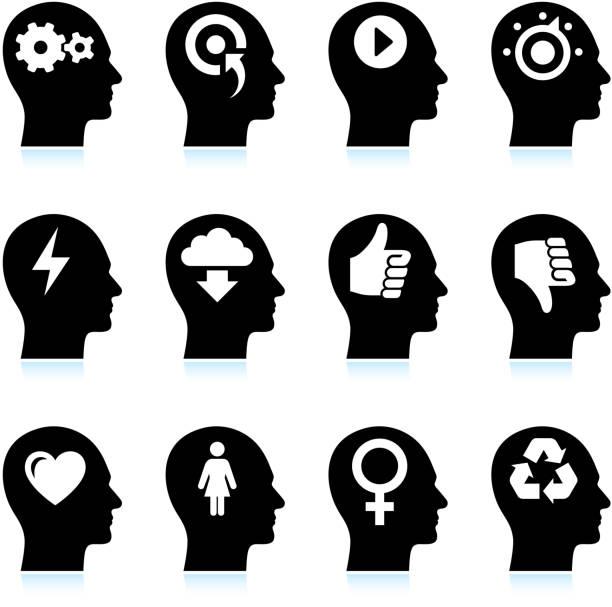 bildbanksillustrationer, clip art samt tecknat material och ikoner med black & white mind and ideas royalty-free vector icon set - recycling heart