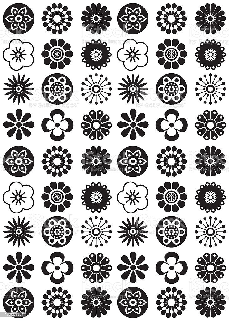 Black & White Modern Flower Repeat Pattern royalty-free black white modern flower repeat pattern stock vector art & more images of 1960-1969
