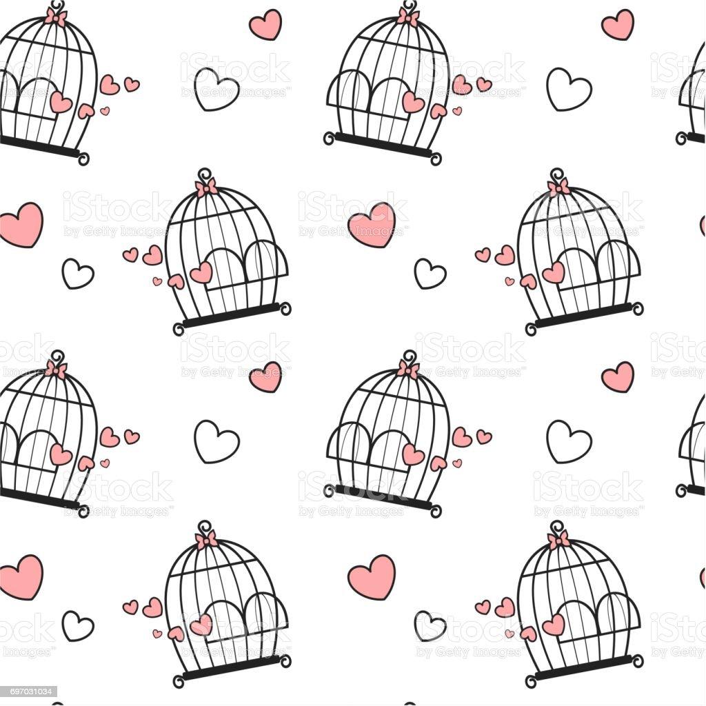 Cage A Oiseaux Noir Blanc Rose Mignon Beau Dessin Anime Avec Coeurs