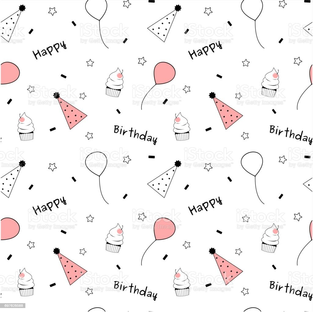 Black White Pink Cute Lovely Happy Birthday Seamless
