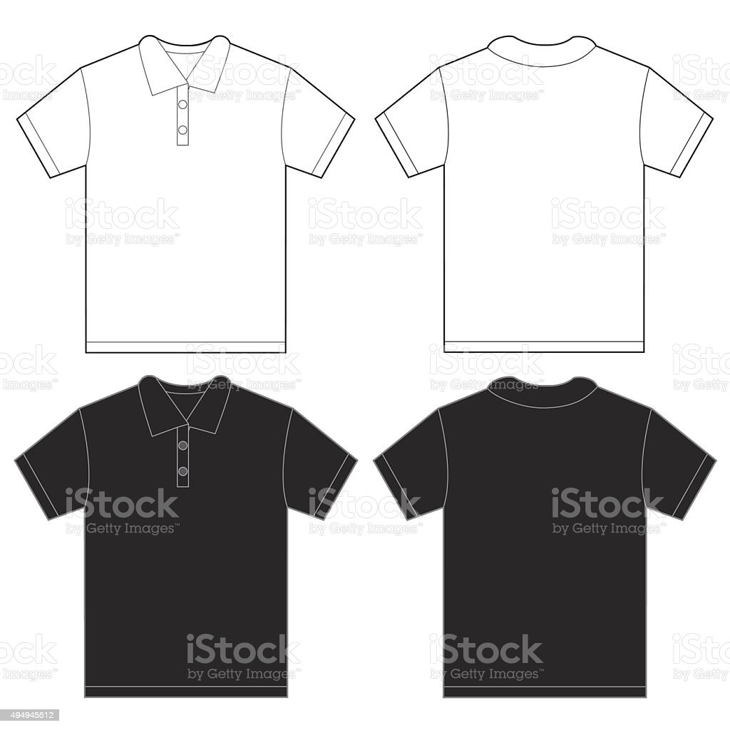 Black White Polo Shirt Design Template For Men vector art illustration