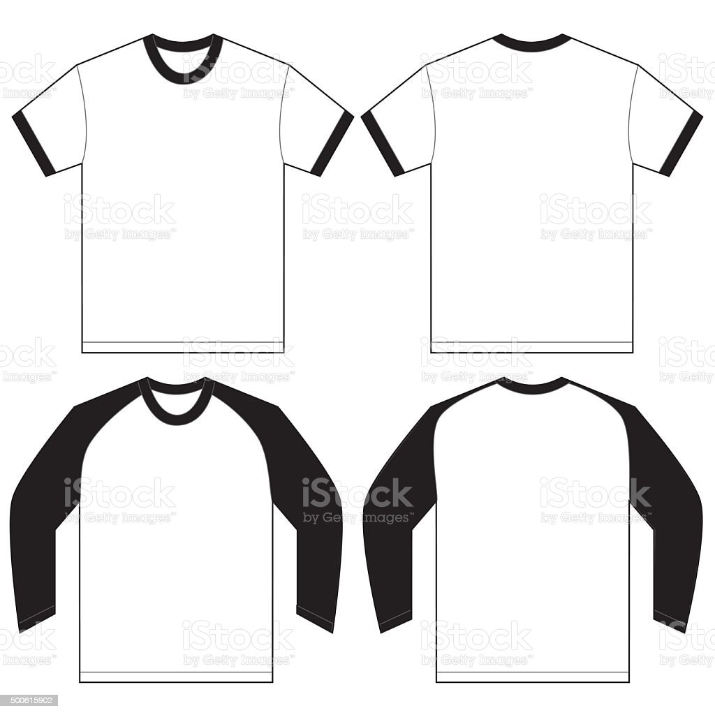 black white ringer tshirt design template stock vector art