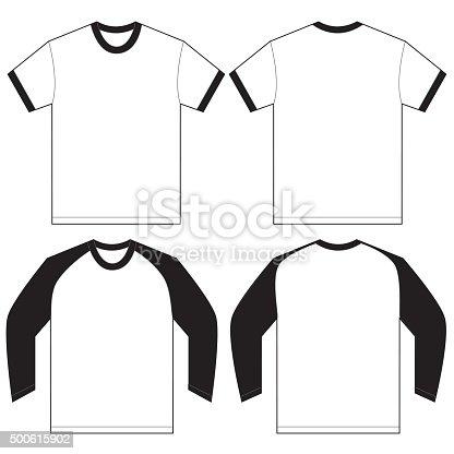black white ringer tshirt design template stock vector art more images of 2015 500615902 istock. Black Bedroom Furniture Sets. Home Design Ideas