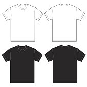 Vector illustration of black and white shirt, isolated front and back design template for men