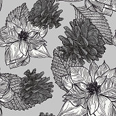 A silvery winter Christmas themed poinsettia pattern for you to use in your holiday designs. Great for a modern Xmas theme.