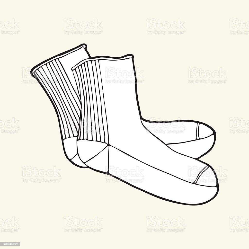 Black & white socks vector art illustration