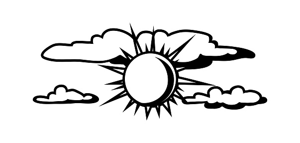 Black White Sun And Clouds Stock Illustration - Download ...