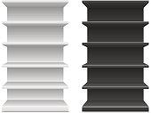 black & white supermarket shelf. Vector illustration