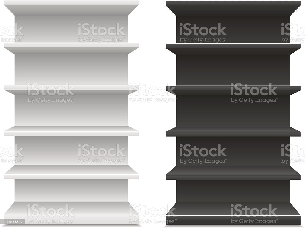 black & white supermarket shelf vector art illustration