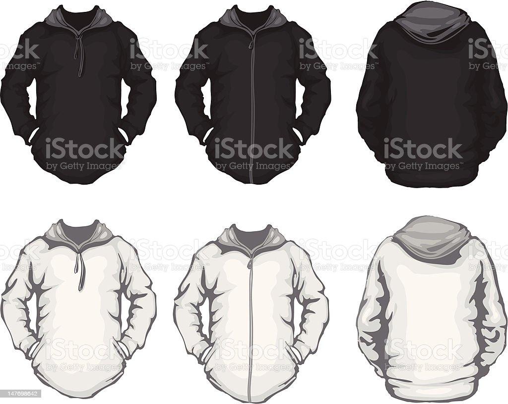 black white sweatshirt template, front and back design vector art illustration
