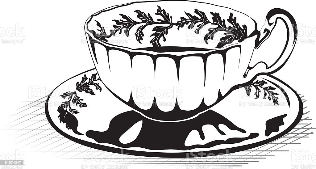 Black White Teacup Stock Vector Art & More Images of Black And White ...