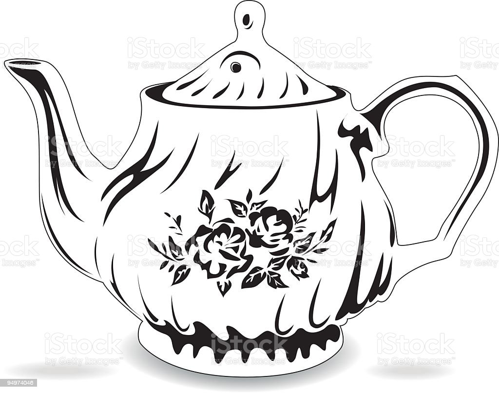 Black white teapot stock vector art more images of black for Black and white only