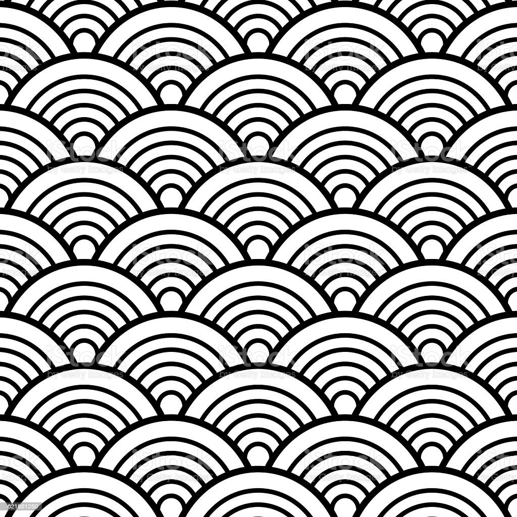Black white traditional wave japanese chinese seigaiha pattern black white traditional wave japanese chinese seigaiha pattern background voltagebd Gallery