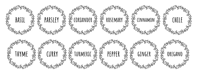 Black white vector food 12 labels or stickers. It can be used for marking food cans, containers with spices. Pepper, basil, garlic and so on. Round botanical frame for each sticker.