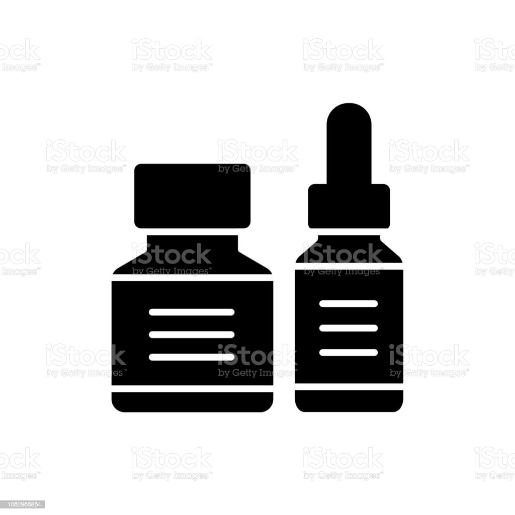 Black White Vector Illustration Of Calligraphy Ink In Bottle