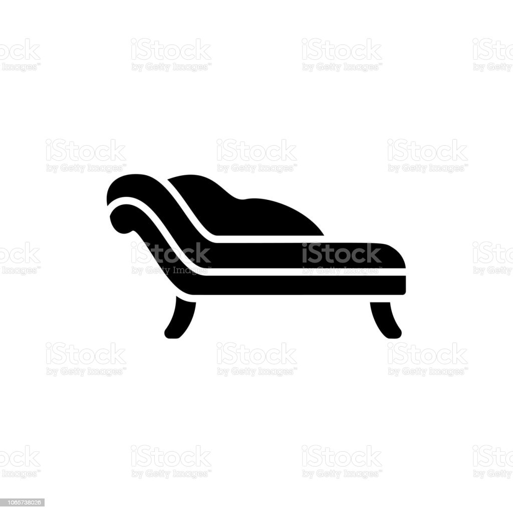 Black White Vector Illustration Of Chaise Lounge Sofa Flat Icon Of Settee Modern Home Office Furniture Isolated Object Stock Illustration Download Image Now Istock