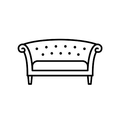 Zwart Chesterfield Bankje.Zwarte Witte Vectorillustratie Van Chesterfield Bank Lijn Icoon