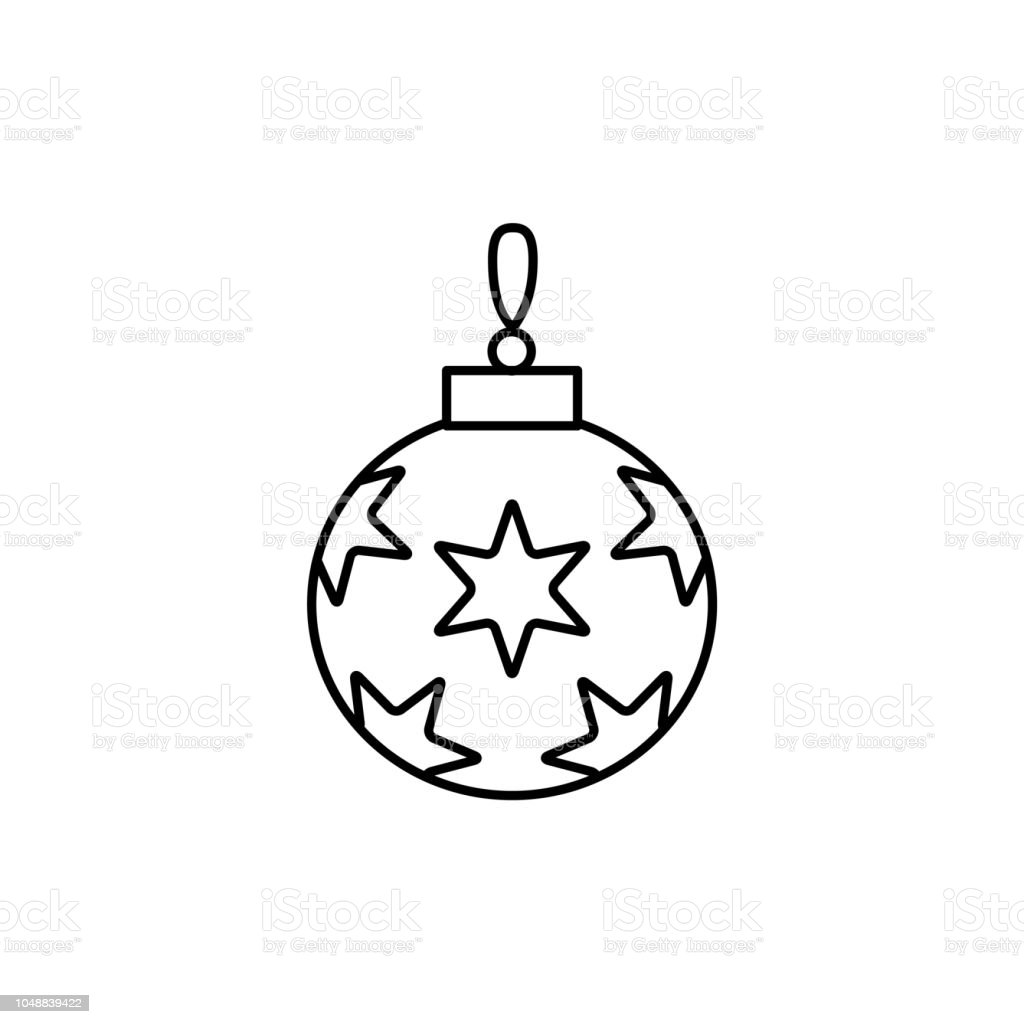 Black White Vector Illustration Of Christmas Ornament With Stars Line Icon Of Holiday Bauble ...