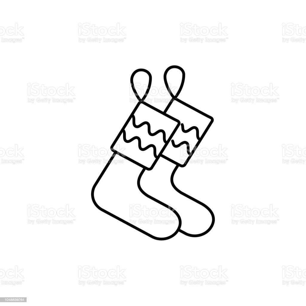 Black White Vector Illustration Of Christmas Stockings Line Icon Of