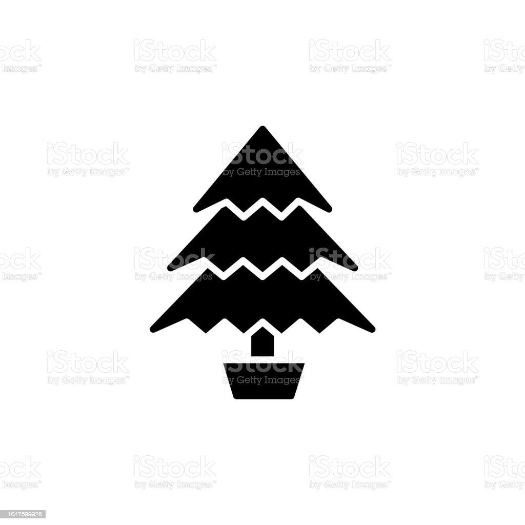 Illustration Vectorielle Noir Blanc Darbre De Noël Dans Le