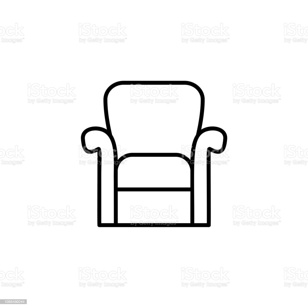 Black White Vector Illustration Of Classic Armchair With High Back Line  Icon Of Arm Chair Seat Upholstery Furniture For Living Room Bedroom  Isolated ...