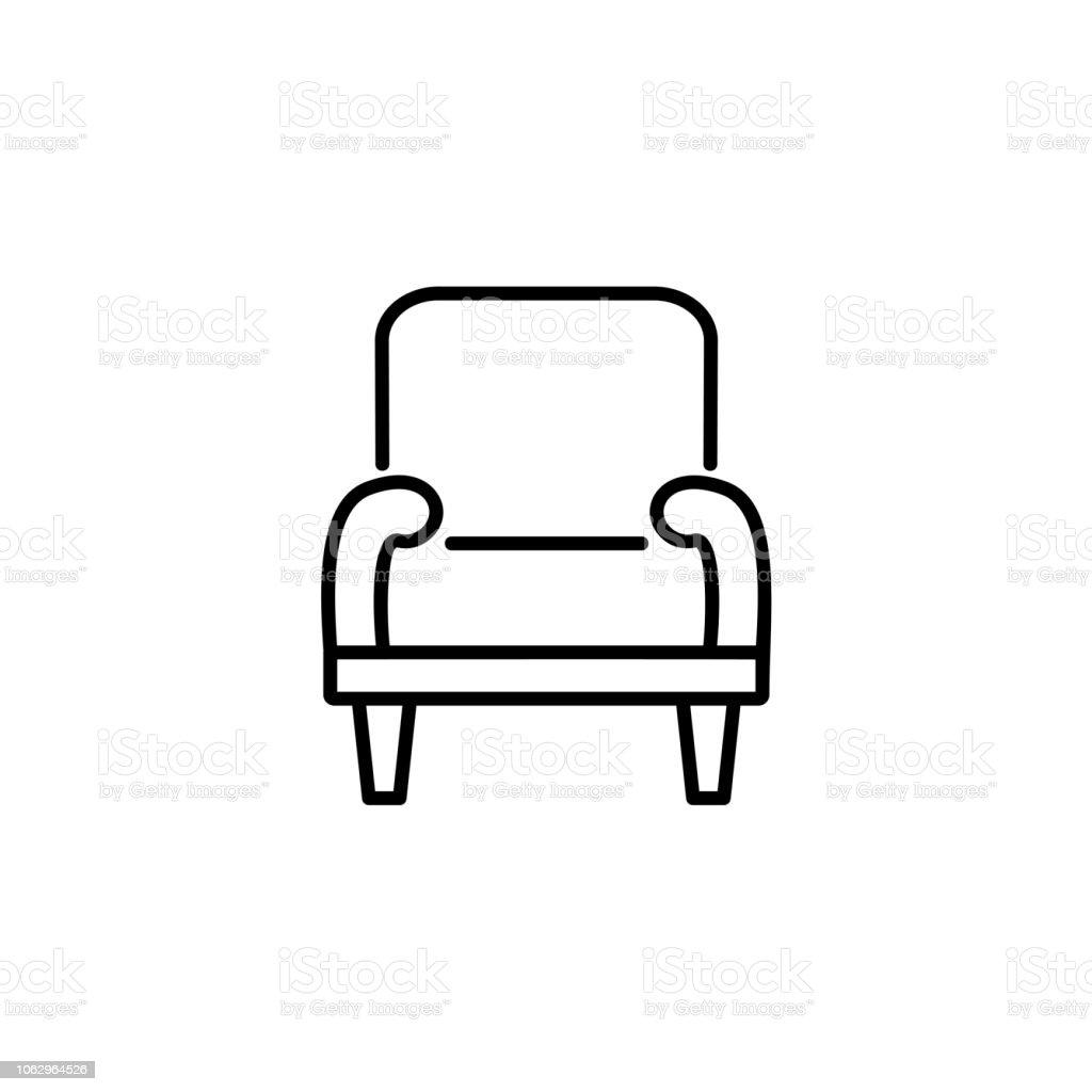 Illustration Vectorielle Noir Blanc Du Confortable Fauteuil Avec Dossier Haut Icne De La Ligne