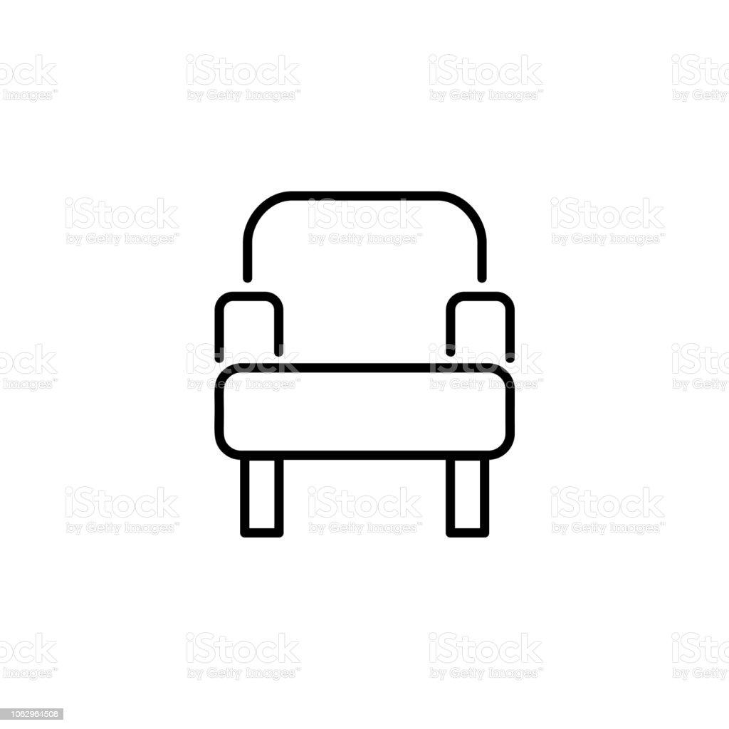 Einfache Sessel Schwarz Weiße Vektorillustration Liniensymbol Der