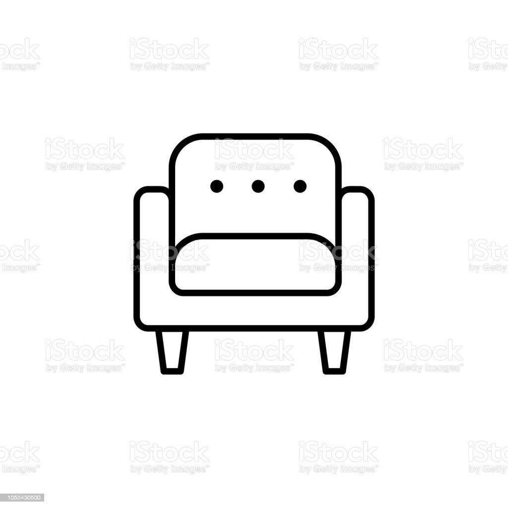Schwarzen Weiße Vektorillustration Von Bequemen Weichen Sessel