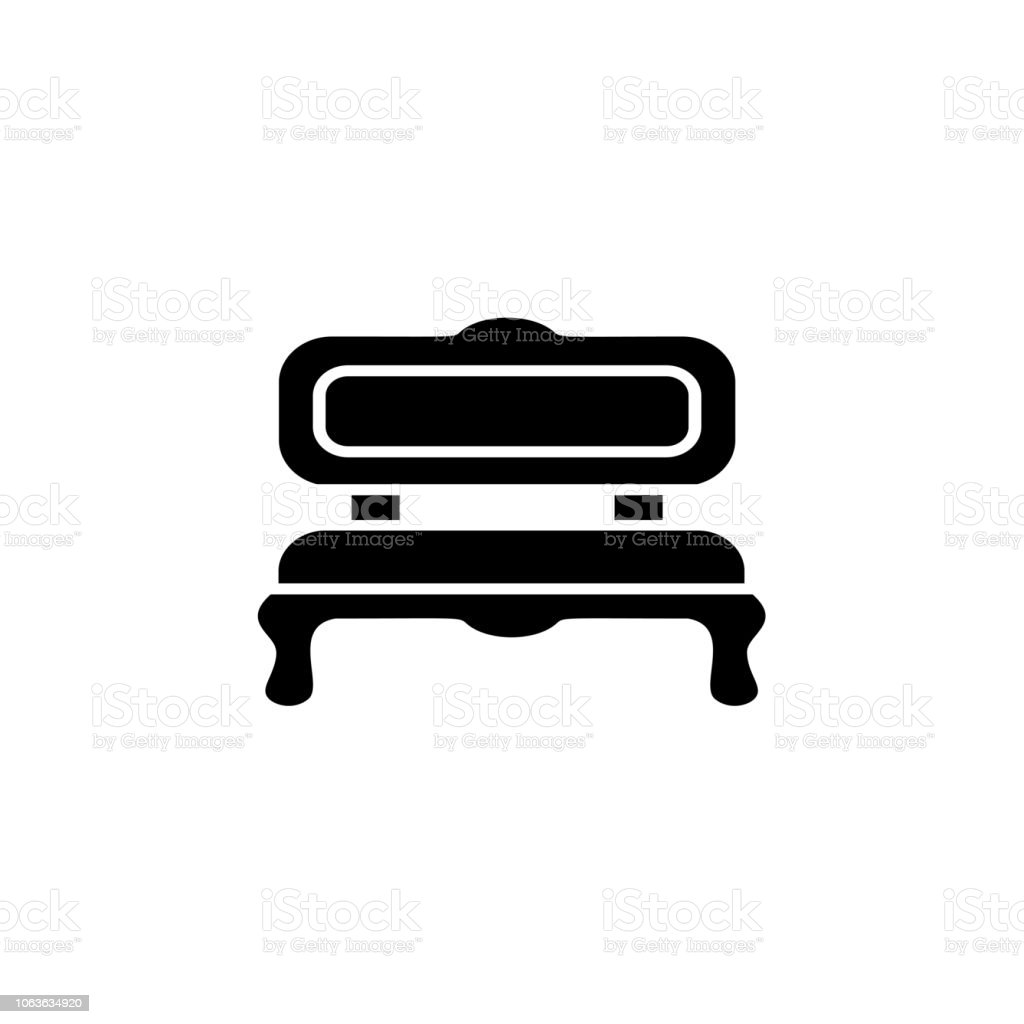 Super Black White Vector Illustration Of Cushioned Bench Flat Icon Pabps2019 Chair Design Images Pabps2019Com