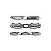 Black & white vector illustration of embroidery needlework thread skein. Line icon of cross stitch floss. Isolated object
