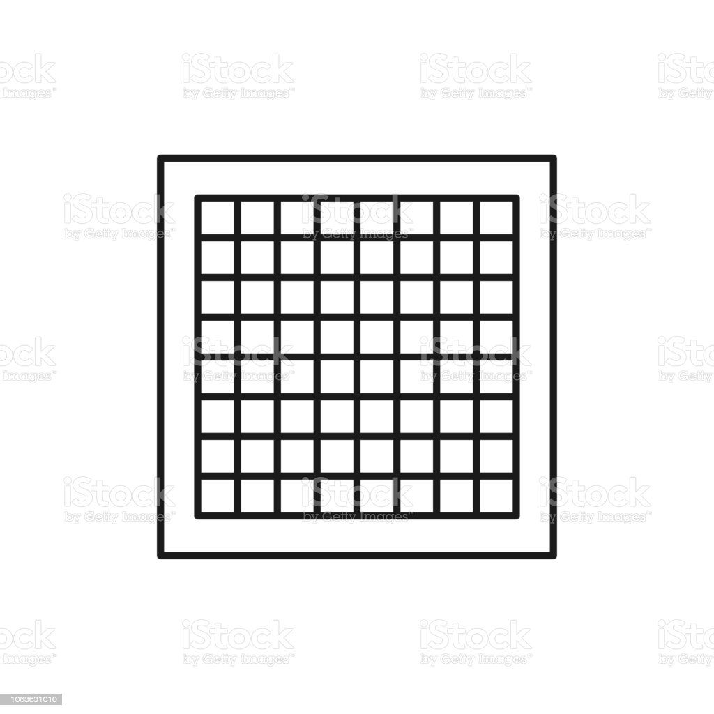 black white vector illustration of graph paper line icon of material