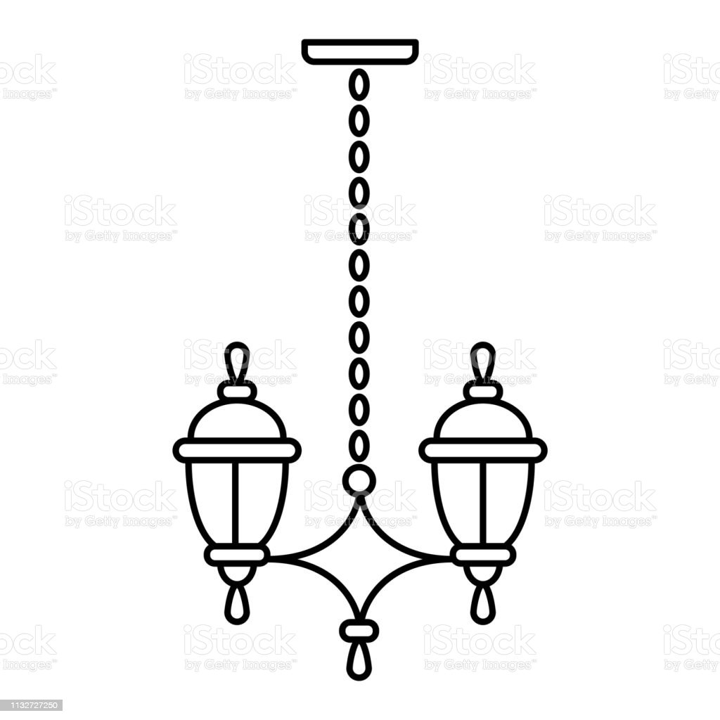 Black White Vector Illustration Of Hanging Pendant Lamp Line Icon Of Outdoor Indoor Light Fixture Isolated Object Stock Illustration Download Image Now Istock