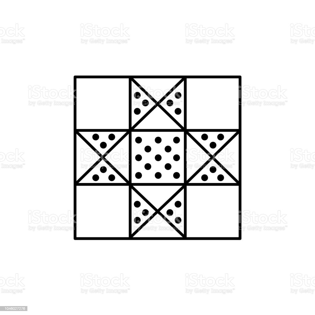 Black White Vector Illustration Of Lone Star Quilt Pattern Line Icon