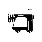 Black & white vector illustration of long arm quilting machine. Flat icon of equipment for quilters. Sewing machine for patchwork. Isolated on white background.