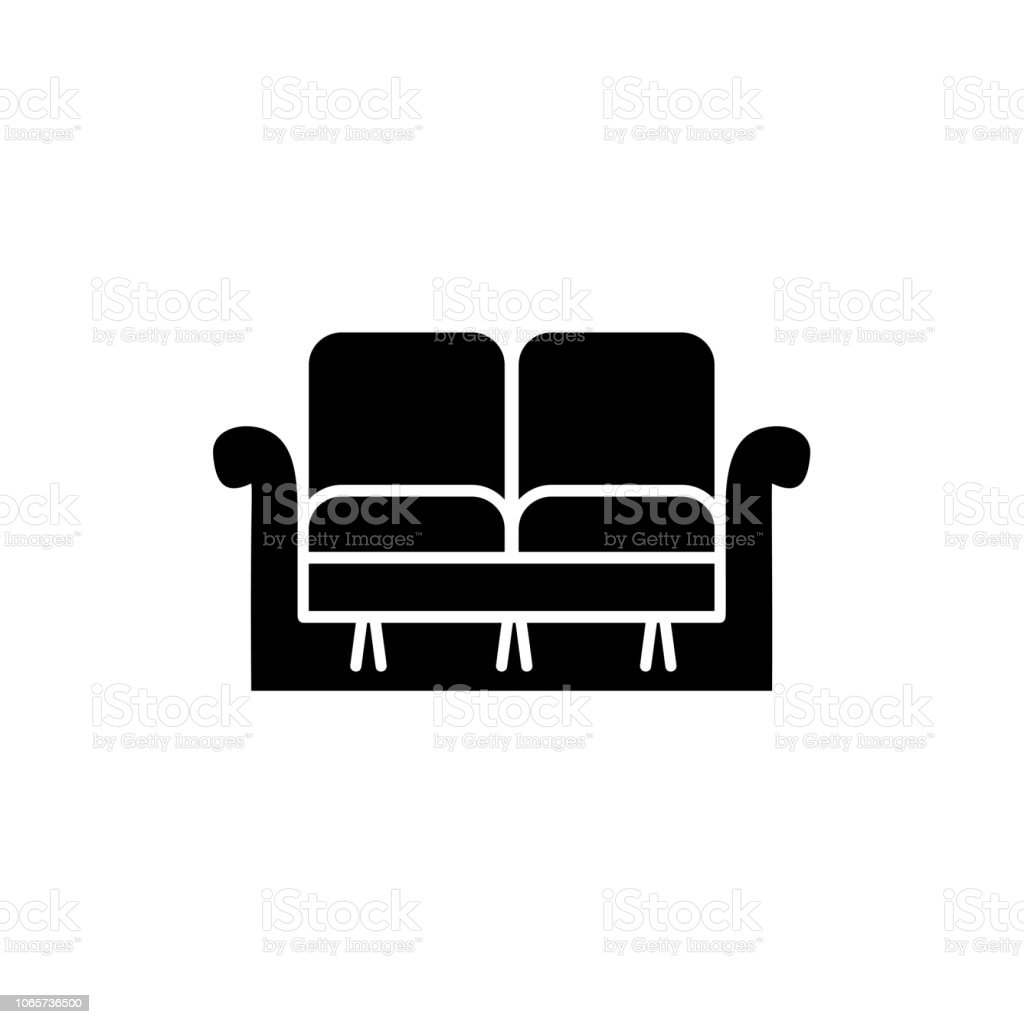 Black & white vector illustration of loveseat. Double sofa. Flat icon of settee. Element of modern home & office furniture. Isolated object