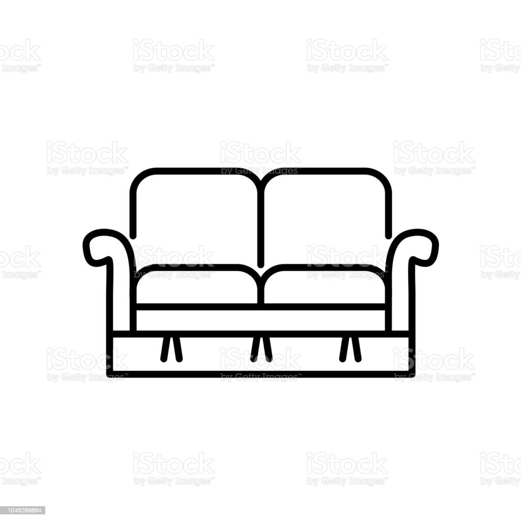 Black & white vector illustration of loveseat. Double sofa. Line icon of settee. Element of modern home & office furniture. Isolated on white background