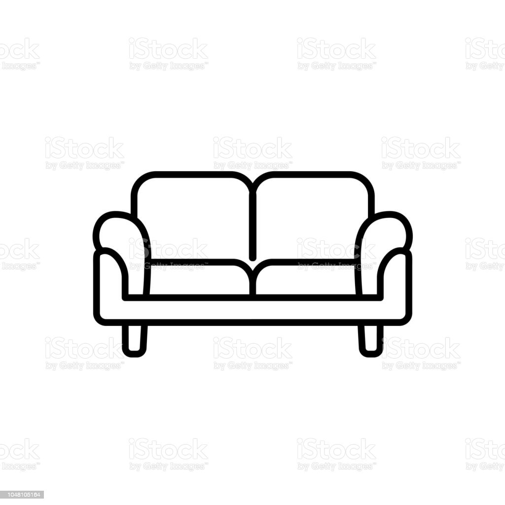 Black White Vector Illustration Of Loveseat Double Sofa Line Icon Of Settee Modern Home Office Furniture Isolated On White Background Stock Illustration Download Image Now Istock