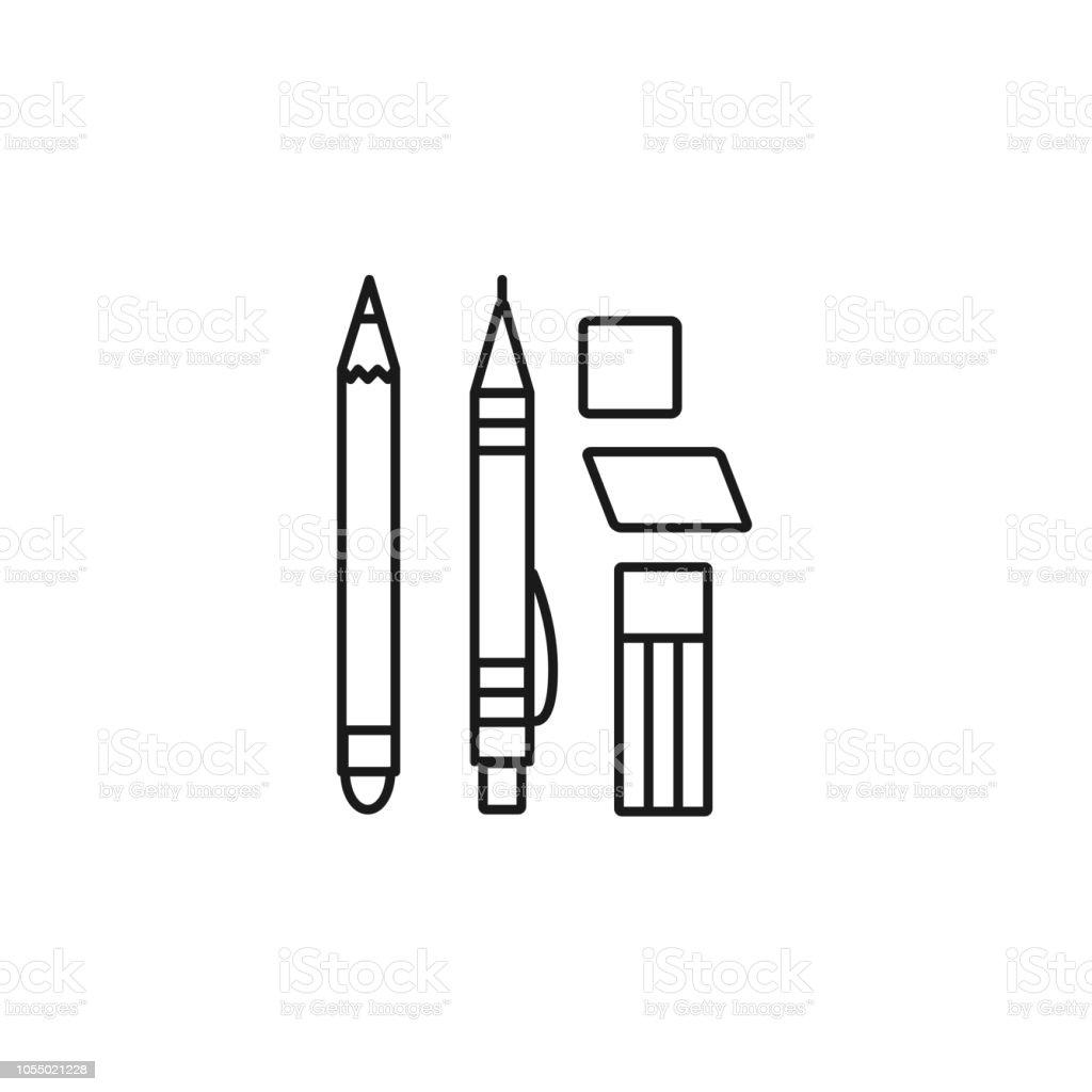 Black white vector illustration of mechanical pencil erasers