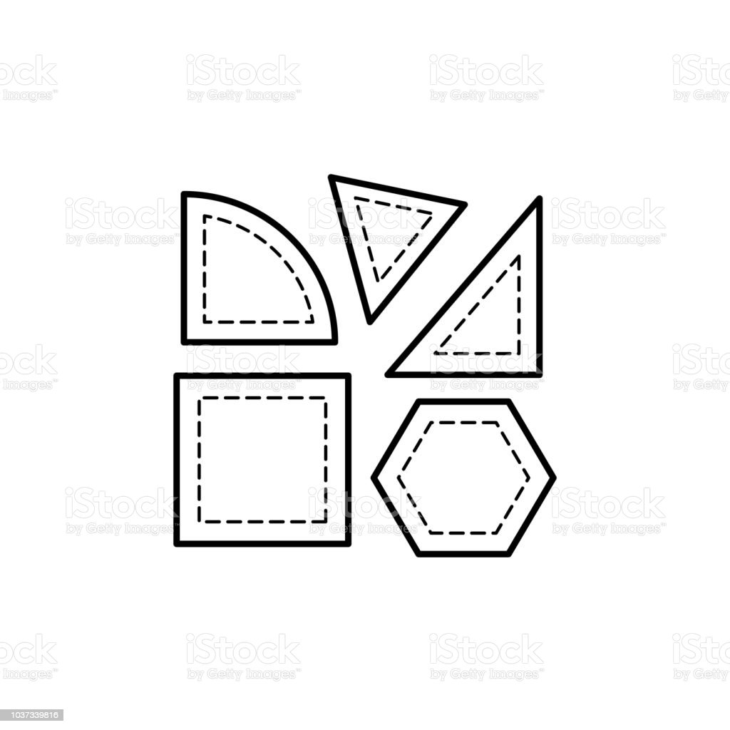 Black & white vector illustration of quilting templates for cutting fabric. Line icon of patchwork accessories. Triangle, square & quarter round stencils. Isolated on white background.