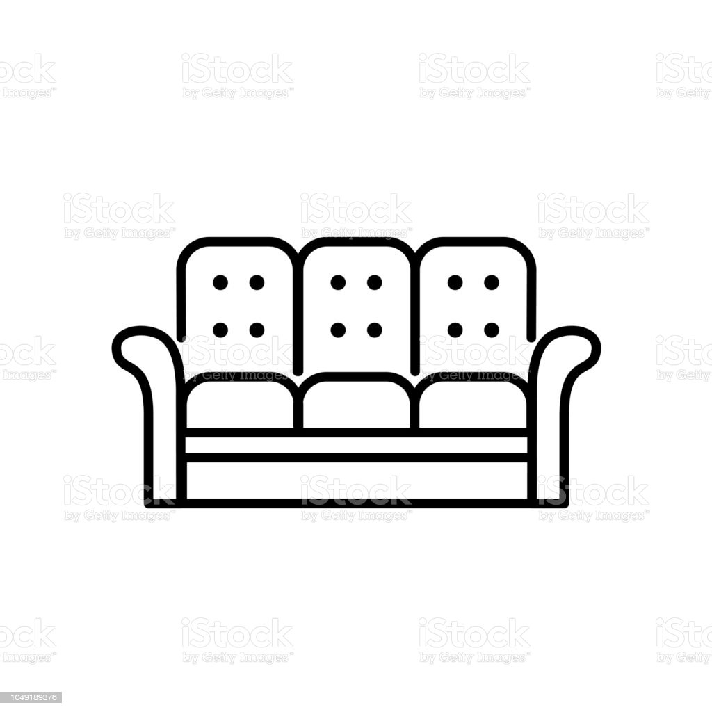 Black White Vector Illustration Of Recliner 3 Seaters Sofa Line Icon ...