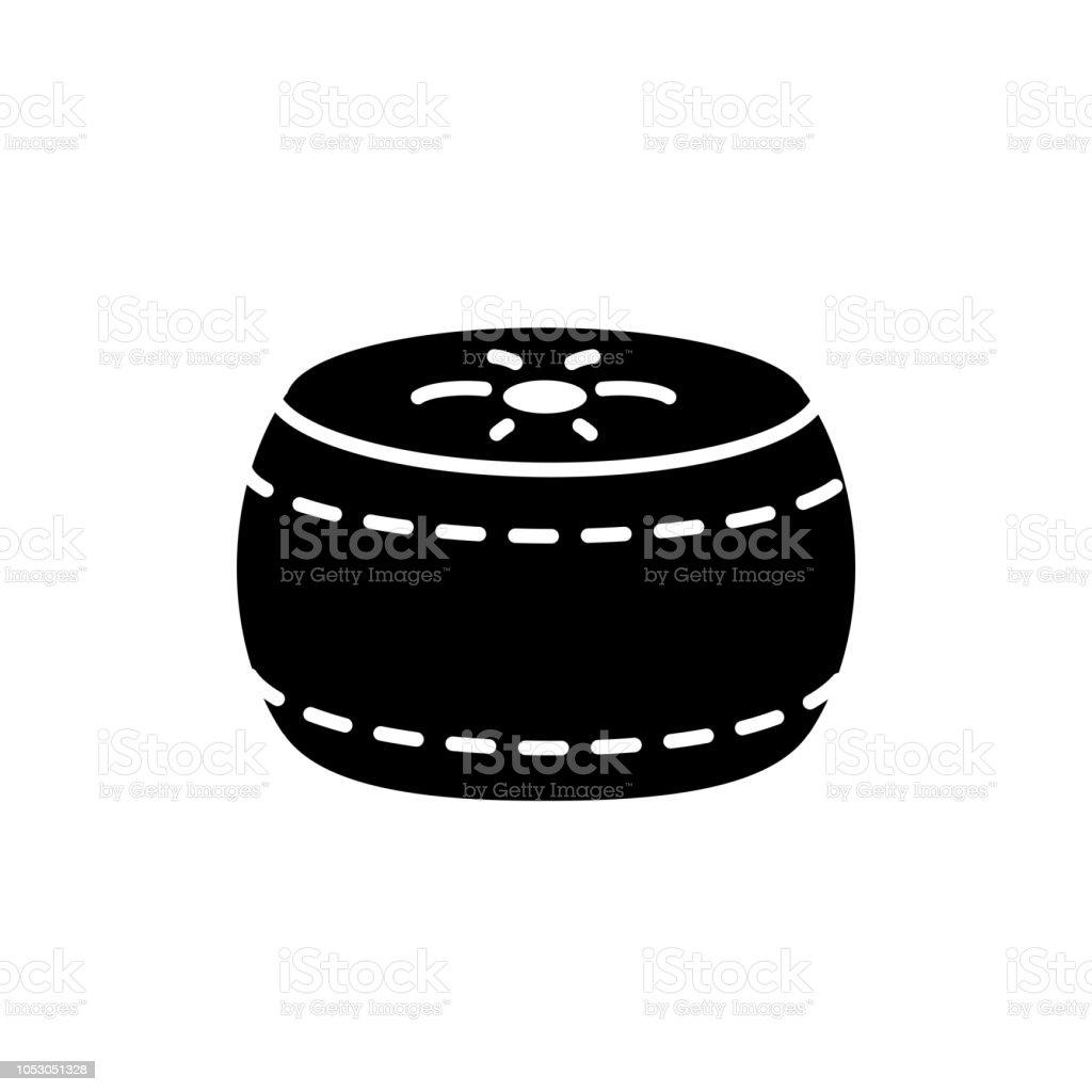 Illustration De Vecteur Noir Blanc De Pouf Rond Tissu Pouf Icone