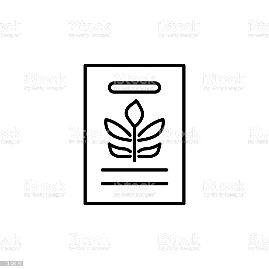 Black & white vector illustration of seed pack of green foliage...